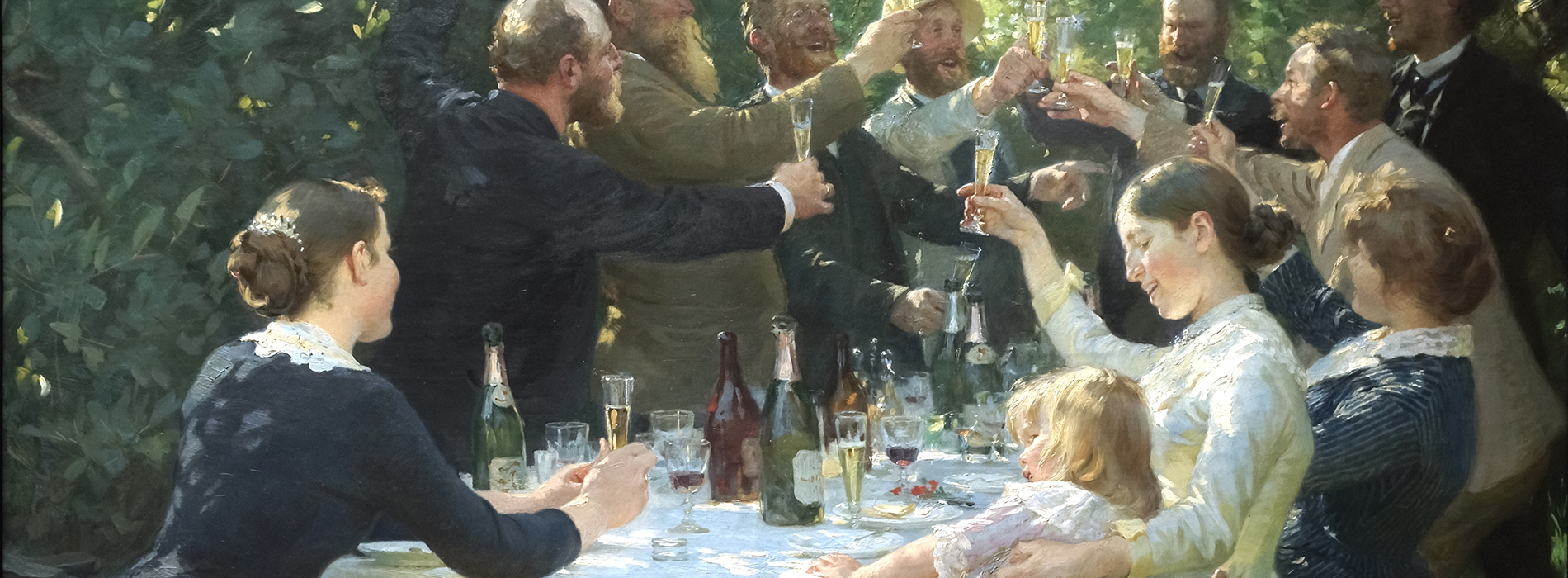 Convivial eating. Hipp hipp hurra. Painting by Peder Severin Krøyer