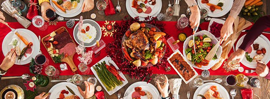Picture of a laden Christmas feast
