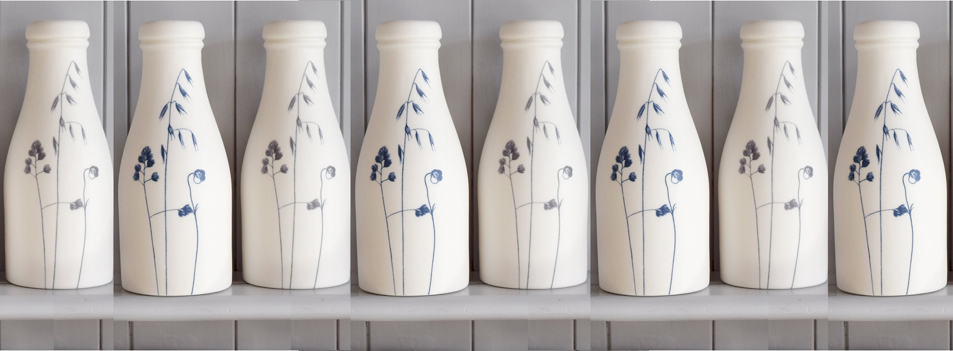 Porcelain grass-design milk bottles from Happy and Glorious