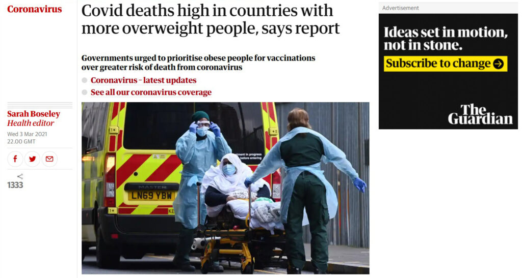 Guardian headline links between obesity, weight and COVID-19